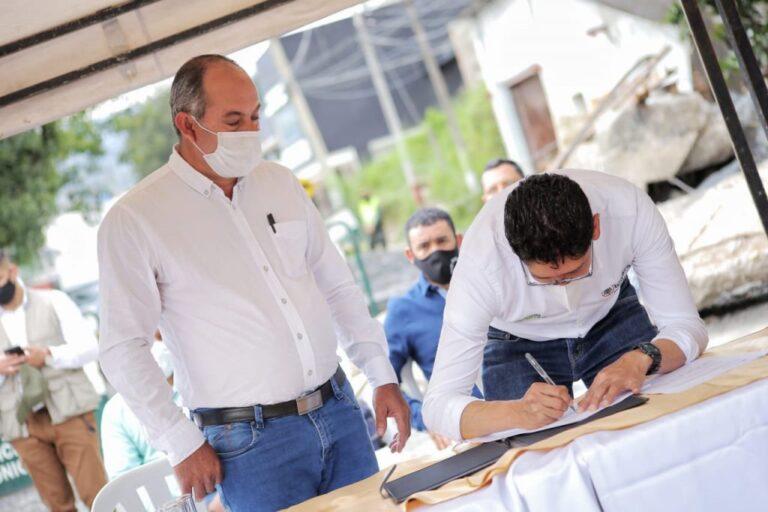 Gobernador firmó convenio con alcalde de Moniquirá para avanzar en la construcción del nuevo puente La Campana