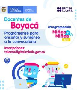 Abren convocatoria para que docentes boyacenses se preparen para realizar programación dirigida a niños y niñas 2021