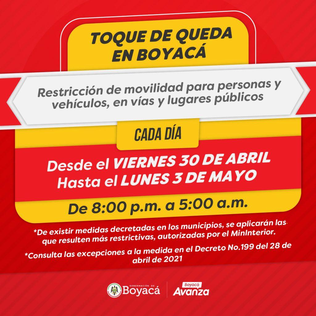 Este fin de semana habrá toque de queda, ley seca y pico y cédula en los 123 municipios de Boyacá