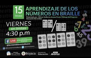 Lee más sobre el artículo Aprendizaje de los números en Braille será el tema de Viernes Sin Límite